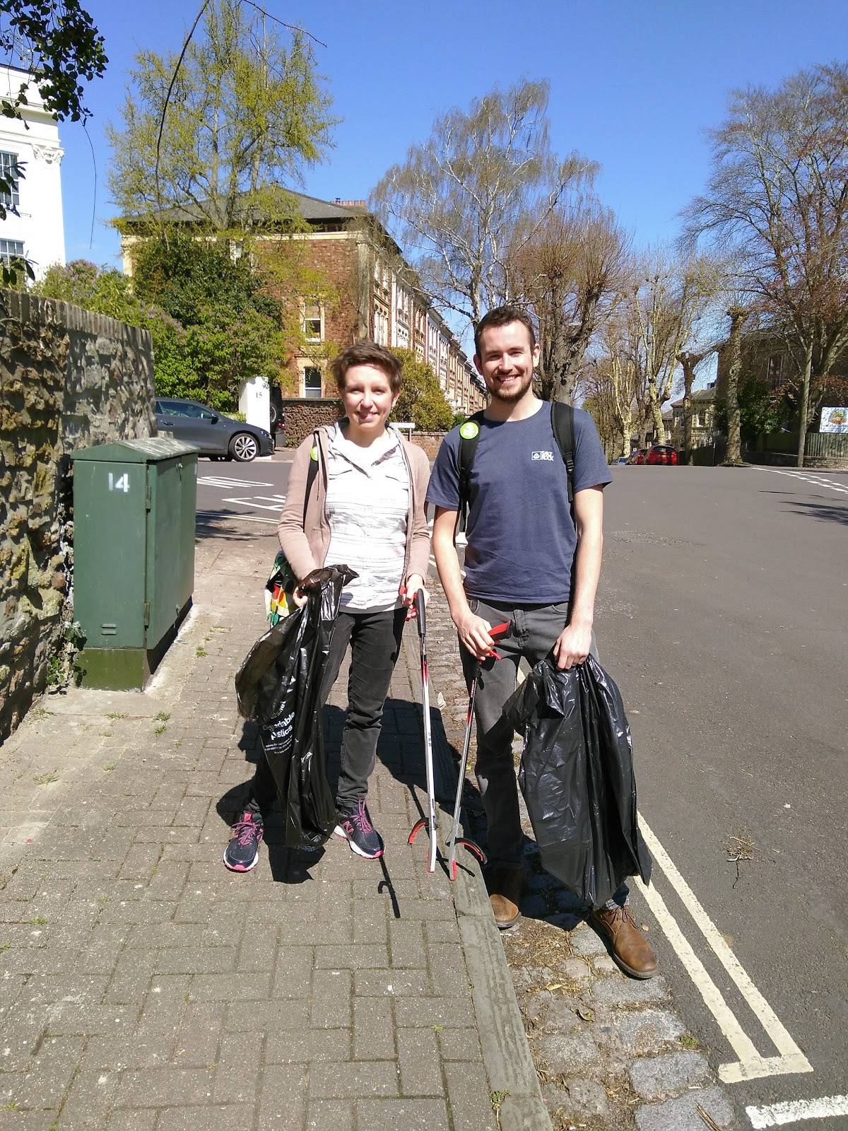 Carla and Tom on a community litter pick in Clifton Down.