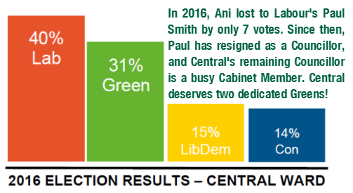 A bar chart of the election results in Central Ward in 2016