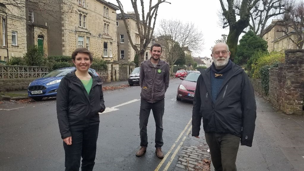 Clive, Carla & Tom socially distanced on a street in Bristol