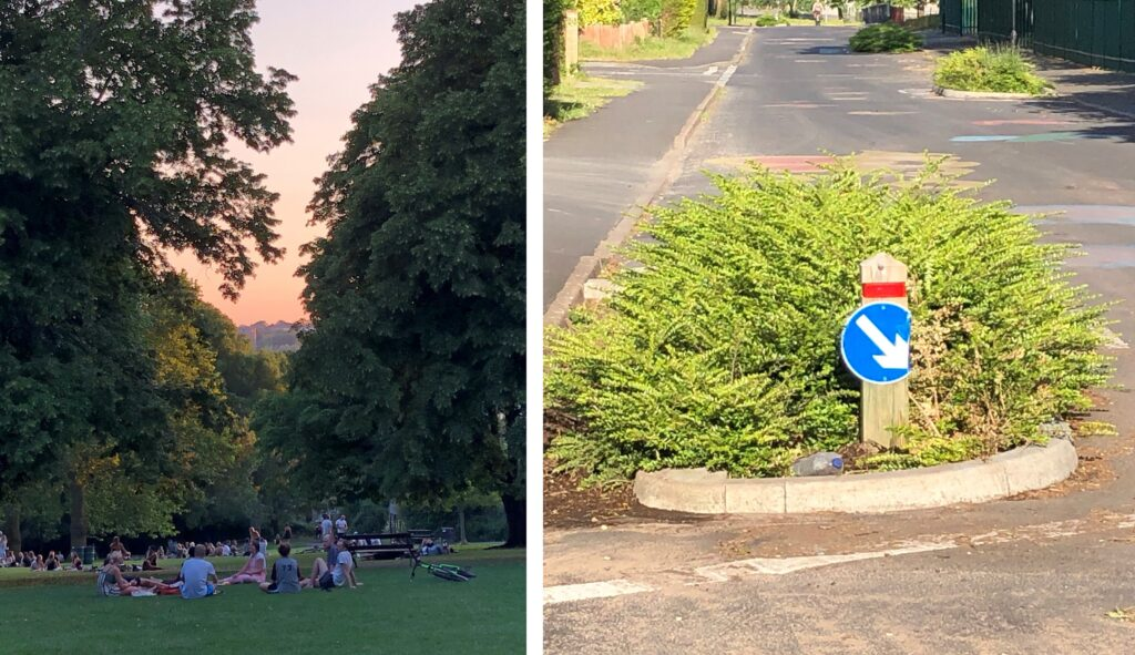 Image on the left shows visitors having a picnic and enjoying one of Bristol's parks in the summer. Image on the right shows planters on a Bristol street designed to slow through traffic.